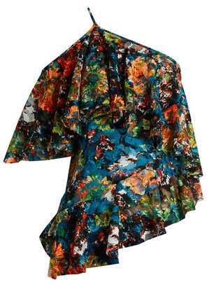 Marques Almeida Marques'almeida - Lace One-shoulder Top - Womens - Orange Multi
