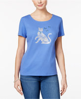 Karen Scott Petite Cotton Cat Graphic T-Shirt, Only at Macy's