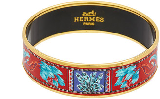 Hermes Gold-Plated Printed Enamel Wide Bangle