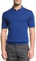Ermenegildo Zegna Silk-Cotton Perforated Polo Shirt, Medium Blue
