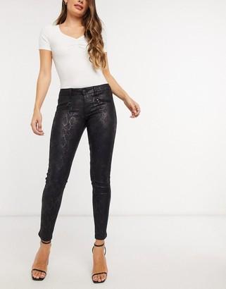 Morgan zip detail jean in black snakeskin print