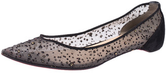 Christian Louboutin Black Embellished Mesh And Suede Follies Strass Pointed Toe Ballet Flats Size 40.5