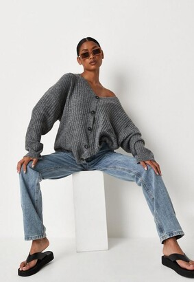 Missguided Recycled Gray Oversized Knit Cardigan