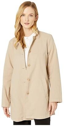 Eileen Fisher Organic Cotton Hemp Stretch Stand Collar Jacket (Khaki) Women's Clothing