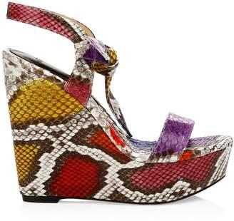 Alexandre Birman Noelle Python Leather Platform Wedges