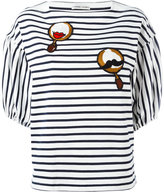 Tsumori Chisato patched puffball sleeve striped T-shirt - women - Cotton/Cupro - S