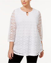 JM Collection Plus Size Lace Keyhole Tunic, Only at Macy's