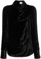 Maison Margiela satin draped high neck blouse - women - Cupro/Viscose - 40