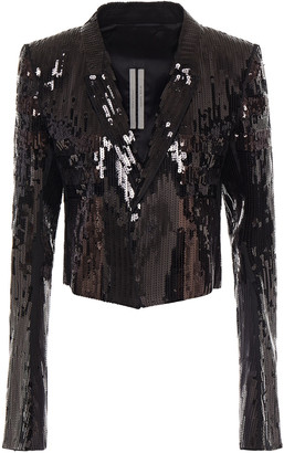 Rick Owens Cropped Sequined Cotton Jacket