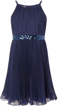Monsoon Sequin Waistband Chiffon Prom Dress Blue