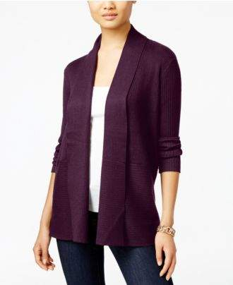 JM Collection Ribbed Open-Front Cardigan, Created for Macy's