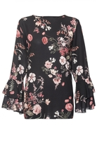 Quiz Black Floral Print Double Frill Sleeve Top