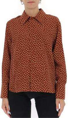 Saint Laurent Pointed-Collar Polka Dot Shirt