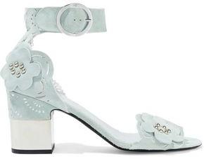 Roger Vivier Podium Floral-appliqued Laser-cut Suede Sandals