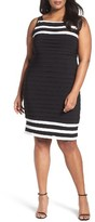 Adrianna Papell Plus Size Women's Stripe Shutter Pleat Jersey Sheath Dress