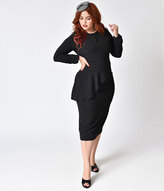 Bettie Page Plus Size Vintage Style Black Crepe Long Sleeve Christina Wiggle Dress