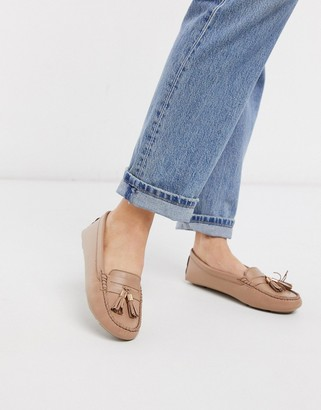 Dune gaze leather tassel loafer flat shoes in camel