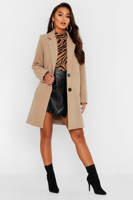 boohoo Petite Button Detail Camel Duster Coat