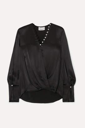 3.1 Phillip Lim Embellished Wrap-effect Satin Blouse - Black