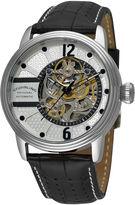Stuhrling Original Sthrling Original Mens Black Leather Strap Skeleton Automatic Watch