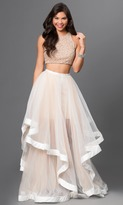 Terani Couture Beaded Crop Top and Ruffled Mesh Skirt Long Gown Ensemble 151P0102A