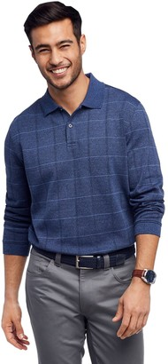 Van Heusen Men's Classic-Fit Heathered Windowpane Polo