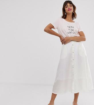 Ichi cotton button through skirt-White
