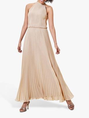 Oasis Pleated Skirt Halter Neck Maxi Dress