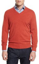 Neiman Marcus Cashmere V-Neck Sweater, Orange