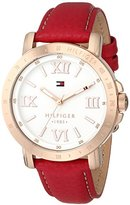 Tommy Hilfiger Women's 1781439 Gold-Tone Watch with Red Strap