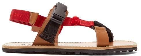 Marni Multi Strap Leather Sandals - Mens - Black Red