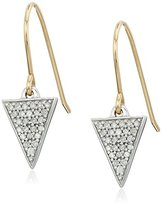 Adina Solid Pave Diamond Triangle Sterling Silver with 14k Gold Hook Drop Earrings (1/5cttw, H-I Color, I2-I3 Clarity)