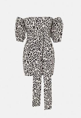 Missguided Sand Leopard Print Puff Sleeve Bardot Dress
