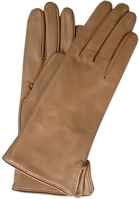 Forzieri Camel Leather Women's Gloves w/Cashmere Lining