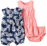 Carter's Baby Girl Floral Dress & Palm-Leaf Sunsuit Set