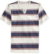 INC International Concepts Men's Downtown Split-Neck Striped T-Shirt, Only at Macy's