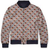 Fendi Reversible Printed Silk-Twill and Matte-Satin Bomber Jacket