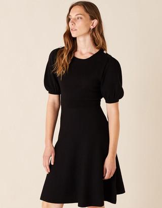 Monsoon Button Detail Puff Sleeve Dress Black