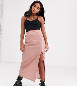 Asos DESIGN Petite sparkle bias slip midi skirt with thigh split-Pink