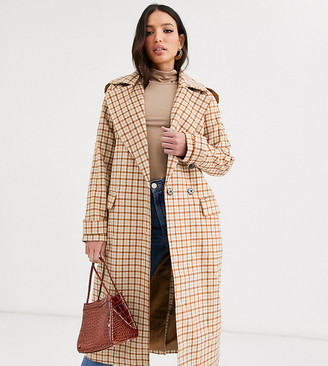 Glamorous Tall double breasted coat-Brown
