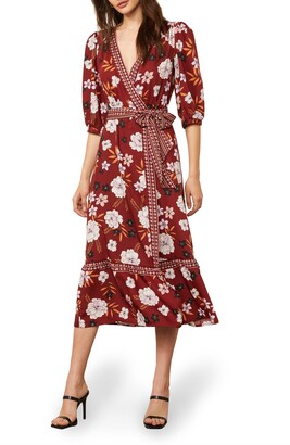 BB Dakota Blooming Business Floral Wrap Midi Dress