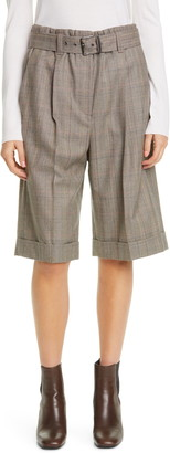Brunello Cucinelli Pleated Plaid Wool Bermuda Shorts