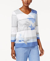 Alfred Dunner Long Weekend Striped Studded Top