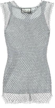 Gucci Mesh-trimmed cotton-blend tank top
