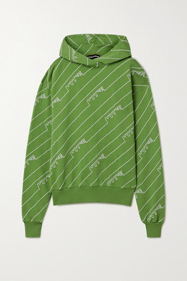 House of Holland Oversized Embroidered Cotton-jersey Hoodie - Leaf green
