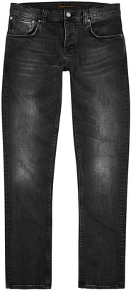 Nudie Jeans Grim Tim dark grey slim-leg jeans