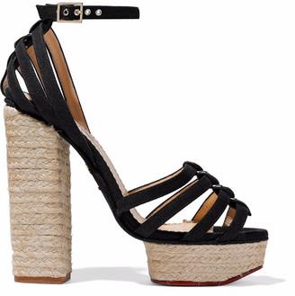 Charlotte Olympia Eyelet-embellished Canvas Espadrille Platform Sandals