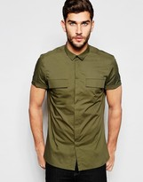 Asos Military Shirt In Khaki With Double Pockets In Regular Fit