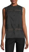 T Tahari Zeena Button-Front Sleeveless Lace Blouse