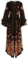 Vilshenko Aventina peony and spot-print silk dress